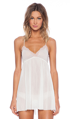 Only Hearts Tulle With Lace Racerback Chemise in Creme & Shell