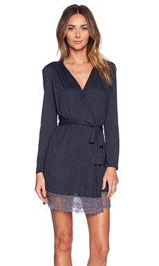 Only Hearts Venice Short Robe With Lace Hem in Indigo & Gunmetal
