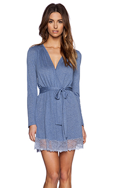 Only Hearts Venice Robe With Lace Hem in Denim