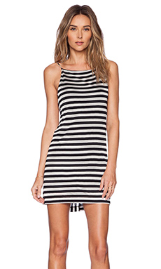 OSKLEN Stripe Mini Dress in Black & Off White