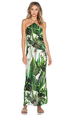 OSKLEN Green Leaves Maxi Dress in Off White & Green