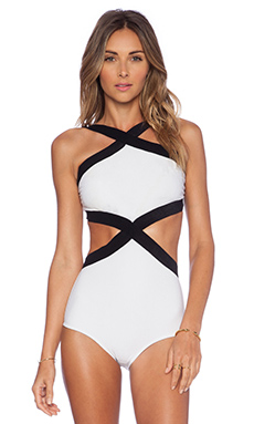 OSKLEN Bicolor Swimsuit in White & Black
