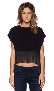 Otis & Maclain Bali Fringe Top in Black