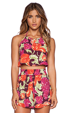 Otis & Maclain Harlow Crop Top in Fuchsia Floral