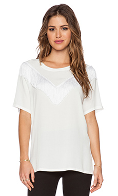 Otis & Maclain Zuma Fringe Top in White