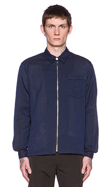 Our Legacy Grio Inglese Short Zip Shirt in Navy