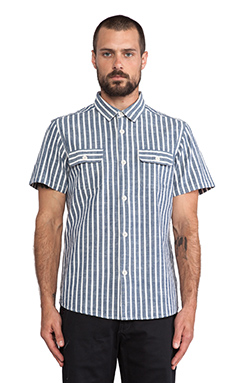 OURS Mid Century Shirt in Blue & Ivory Stripe