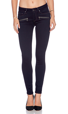 Paige Denim Indio Zip Ultra Skinny in Rockwell No Whiskers