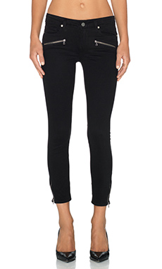 Paige Denim Jane Zip Crop Skinny in Black Overdye