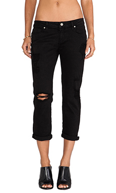 Paige Denim Jimmy Jimmy Crop in Black Destructed