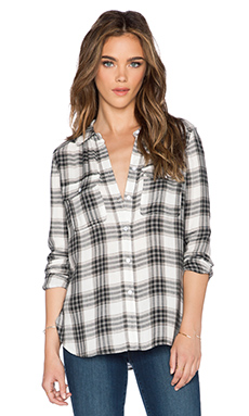 Paige Denim Trudy Button Up in White & Black & True Blush