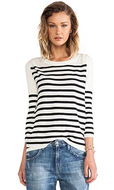 PAM & GELA Striped Pullover in Cream & Black Stripe