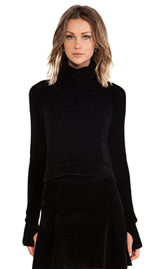 Pam & Gela Side Seam Crop Sweater in Black