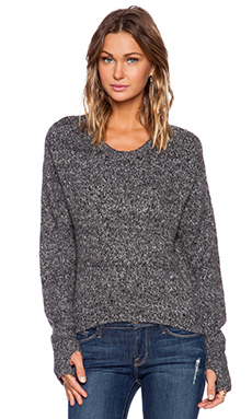 Pam & Gela Crop Hi-Lo Sweater in Black Melange