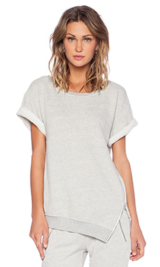 Pam & Gela Short Sleeve Sweatshirt in Heather Grey