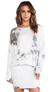Pam & Gela Hi-Lo Sweatshirt in Tie Dye Grey