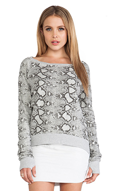 Pam & Gela Printed Hi-Lo Sweatshirt in Heather Grey