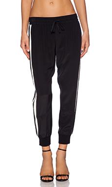 Pam & Gela Cropped Silk Pant in Black
