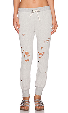 Pam & Gela Betsee Distressed Sweatpant in Heather Grey
