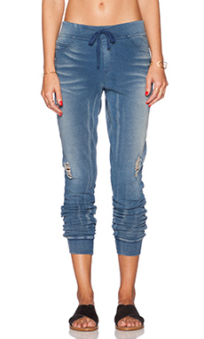 Pam & Gela French Terry Pant in Indigo Denim Wash