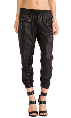 PAM & GELA Perforated Leather Trackpant in Black