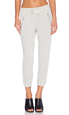 Pam & Gela Zip Crop Pant in Heather Grey