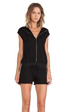 Pam & Gela Sleeveless Hooded Romper in Black