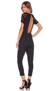 Pam & Gela Short Sleeve Crepe Jumpsuit in Black