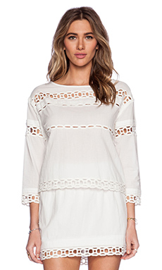 Pam & Gela Lace Voile Top in White