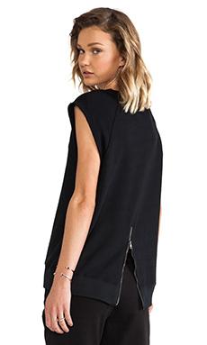 PAM & GELA Hi-Lo Short Sleeve Sweatshirt in Black