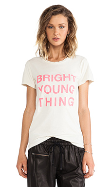 PAM & GELA Bright Young Thing Distressed Logo Tee in Cream & Pink