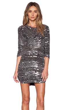 Parker Black Petra Sequin Dress in Silver