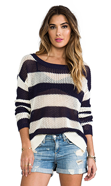 PJK Patterson J. Kincaid Boxy Pointelle Pullover in Eclipse & Marshmallow