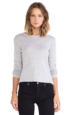Paper Denim & Cloth BECK Long Sleeve Tee in Heather Grey