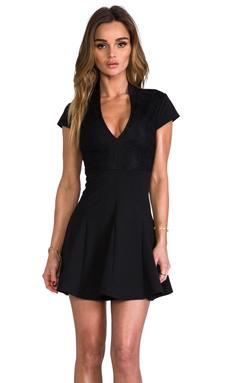 Pencey Deep V Dress in Black