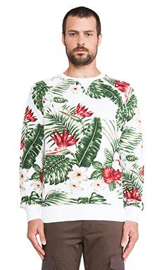 Penfield Koloa Palm Print Sweatshirt in White