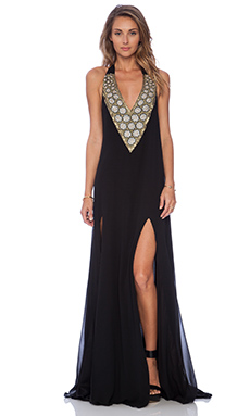Pia Pauro Embroidered Maxi Dress in Black