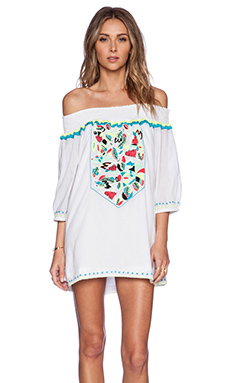 Pia Pauro Embroidered Tunic Dress in White