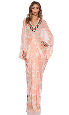 Pia Pauro Ladies Embroidered Printed Kaftan in Tahiti Tattoo Blush