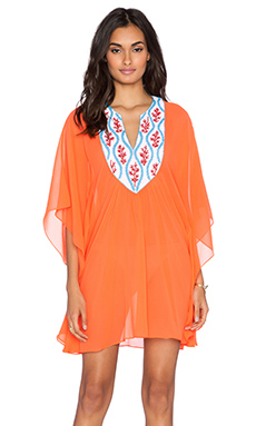 Pia Pauro Embroidered Caftan in Fluro Orange
