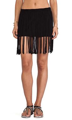Pia Pauro Lounge Fringe Skirt with mini in Black