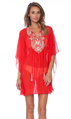 Pia Pauro Embroidered Caftan in Red