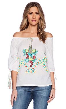 Pia Pauro Embroidered Top in White