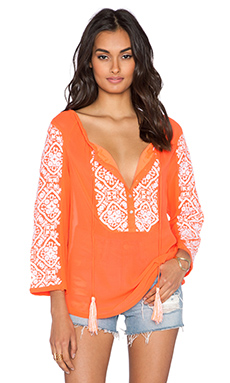 Pia Pauro Embroidered Top in Fluro Orange