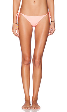 PILYQ Tie Teeny Bikini Bottom in Coral