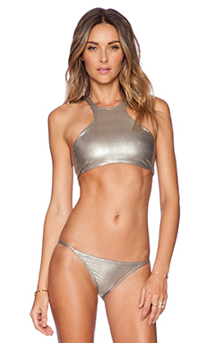 PILYQ Gypsy Halter Bikini Top in Metallic