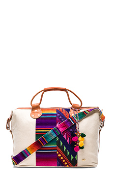 PILYQ Maya Mini Weekender Tote in White & Multi Stripe