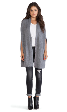 Pink Stitch Isabella Poncho in Grey Marle