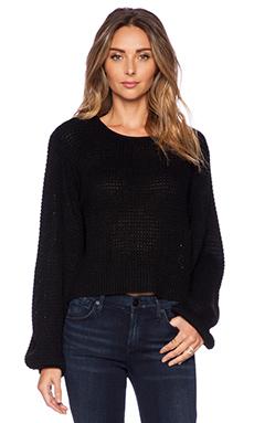 Pink Stitch Clover Sweater in Black