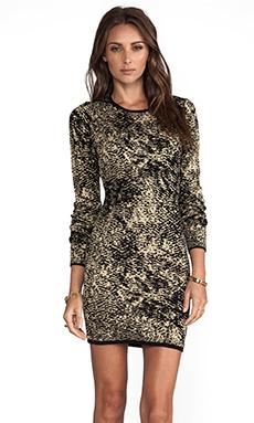 Parker Ashton Long Sleeve Dress in Black/Bronze